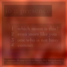 io :: presence :: back cover All Songs, Commercial, Album, Cover, Music, Musica, Musik, Muziek, Blanket