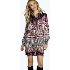Boohoo Valentinne Paisley Print Shirt Dress ($22) ❤ liked on Polyvore featuring dresses, purple, purple dress, party dresses, slip dress, purple sequin dress and maxi shirt dress