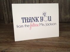 Personalized Thank You cards for the future Mrs.