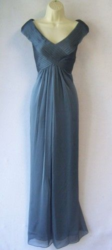ADRIANNA PAPELL Blue-Gray Chiffon Mother of Bride V-Neck Formal Gown Dress 10 | eBay