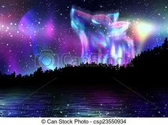 Drawings of Howling Wolf Spirit - Colorful northern landscape with ...