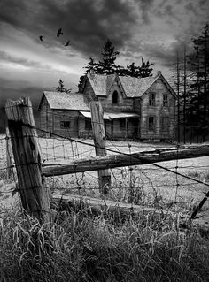 Gothic Abandoned Farm House In Ontario Canada Art Print by Randall Nyhof. All prints are professionally printed, packaged, and shipped within 3 - 4 business days. Choose from multiple sizes and hundreds of frame and mat options. Abandoned Farm Houses, Old Farm Houses, Abandoned Mansions, Abandoned Places, Abandoned Castles, Abandoned Property, Abandoned Train, Creepy Houses, Haunted Houses