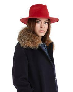 Ryan Roche | Fedora Style Angora Hat in Red // Made in New York.