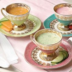 Tea Cups as Soup Bowls. What a delicious idea!