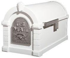 """Gaines Original Series Keystone Mailbox In White And Satin Nickel by Gaines. $229.00. Optional Address Plaque, Newspaper Holder, Custom Vinyl Mailbox Lettering, and Locking Insert Available. Two Post Options Available (ordered separately). Dimensions: 12 1/4"""" H x 10 3/8"""" W x 20 1/8"""" D - 18 lbs. The Original Keystone Series Mailbox is available in six body colors, and over 40 possible body/accent combinations. Gaines Original Series Keystone Mailbox In White And Satin Nickel -..."""