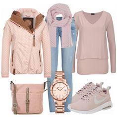 Freizeit Outfits: Sweet bei FrauenOutfits.de #fashion #fashionista #mode #modeinspiration #damenmode #frauenmode #kleidung #bekleidung #frauenkleidung #look #style #frauenoutfit #damenoutfit #outfitinspo #naketano #rosa #nike #thomassabo #handtasche #schal