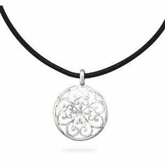 Flower and Heart Design Sterling Silver Pendant 18-inch Black Leather Necklace AzureBella Jewelry. $37.57. Genuine leather. .925 sterling silver