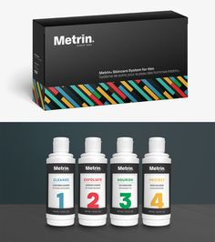 Metrin Skincare System for Him Packaging Redesign Skincare, Container, Packaging, Personal Care, Beauty, Beleza, Skincare Routine, Skin Care, Skin Treatments