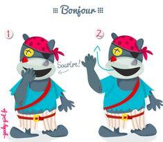 Signe avec bébé, baby sign, baby, bonjour, hello… Illustration www.geekygirl.fr