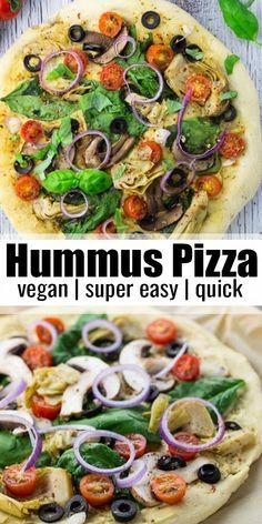 Vegan Pizza Recipe, Vegan Dinner Recipes, Vegan Recipes Easy, Whole Food Recipes, Vegetarian Recipes, Breakfast Recipes, Vegan Meals, Vegan Appetizers, Recipes With Hummus