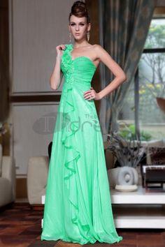 One Shoulder A-line Floor-length Flower(s) Chiffon Green Military Ball Dresses Floral Evening Dresses, Elegant Prom Dresses, Prom Dresses Online, Event Dresses, Evening Gowns, Strapless Dress Formal, Party Dresses, Formal Dresses, Dresses 2014