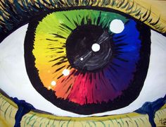 """Color wheel project. Acrylic paint. Eye painting. Started off with primary colors and mixed into secondary, then tertiary. Used Hue, Tint, Shade and Tone to mix and create the """"eyelid"""" and """"lashes"""""""