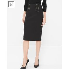 White House Black Market Petite Black Lace-Up Waist Pencil Skirt ($98) ❤ liked on Polyvore featuring skirts, petite, knee length pencil skirt, petite skirts, white house black market, petite pencil skirt and eyelet skirt