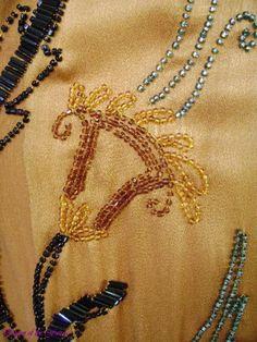 1920s Pumpkin Spice Gold Silk Beaded Asymmetrical Flapper  Dress. Detail