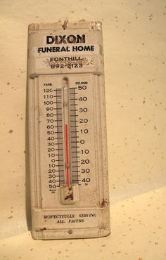 Unusual and Creepy Funeral Home Advertising Thermometer - circa 1940s