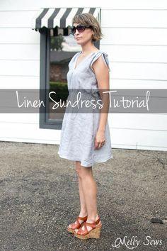 DIY : une robe en lin estivale Cette robe est constituée de 4 panneaux