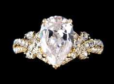3 ct Brillian Pear Cubic Zirconium Yellow GP Ring SZ 7 Stunning Engagement -1500. See it now, Buy It now at a great savings.