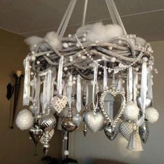 Decor Insipiration - hang ornaments in same colour tones with ribbon from grapevine wreath spray painted in neutral shade taken from ornaments