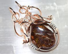 Fire Agate with Herkimer Diamond Pendant  Talisman by PhilipCrow