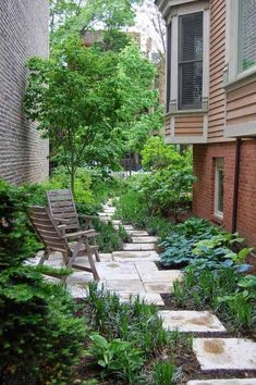 This side yard, from Houzz, is also great inspiration for a small backyard. I love the way the staggered pavers create a very natural, English-garden kind of feel, and the way the plantings increase in height as you move away from the path, which makes the space feel full and lush. You could make the terrace in the middle a little larger to provide space for grilling or dining.