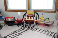 Train Birthday Party for 2 year old  Popcorn Bar  Train Track Table Cloth