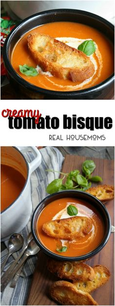 This Creamy Tomato Bisque is an easy soup recipe that is perfect for a quick homemade lunch! Tomato soup is one of my favorite comfort foods via @realhousemoms