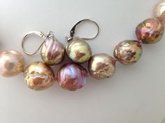 Colorful Freshwater 'Ripple' Pearl Necklaces and Earrings