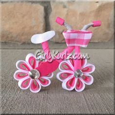 This PINK Bicycle Hair Bow Bicycle Hair Clip Ribbon Sculpture is just one of the custom, handmade pieces you'll find in our hair accessories shops. Ribbon Art, Ribbon Crafts, Girly, Triathlon Ironman, Ribbon Sculpture, Bow Tutorial, Ribbon Hair Bows, Diy Hair Accessories, Barrette