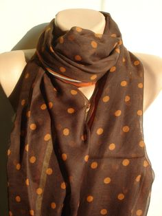 Items similar to Chiffon Scarf - Fashion Scarves For Women - Long Brown Orange Scarf on Etsy Orange Scarf, Polka Dot Scarf, Fashion Scarves, Chiffon Scarf, Pashmina Scarf, Scarf Styles, Shawls, Womens Scarves, Fancy
