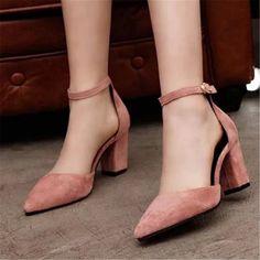 Women's Suede Block Heels Mid Heel Pumps Ankle Straps Sandals Prom Shoes Party