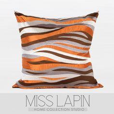 现代中式/样板房家居软装沙发床头靠包抱枕/橘色水纹图形绣花方枕-淘宝网