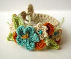 Crochet Flowers Cuff by MTL