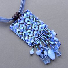 Blue and Violet Ethnic Style Beaded Pendant   by Anabel27shop  #beadwork #jewelry #beading