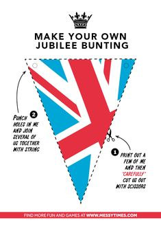 FREE PDF JPG We've created some bunting for you to print out in colour, or if you prefer a black and white version for you to colour in your…UK GB British Queen British Party, British Wedding, Queen 90th Birthday, Royal Party, Tea Party Wedding, Celebrate Good Times, Thinking Day, Party Entertainment, Bunting