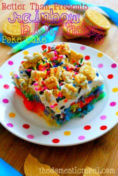 Rainbow Birthday Poke Cake- I box yellow cake mix, assorted colors of gel food coloring, 1 can of sweetened condensed milk, I tub of cool whip, and give or take 15 Golden Oreos (crushed) cannot wait to try!!! Would be super cute to do a tech theme like red and black food coloring and sprinkles and reg Oreos