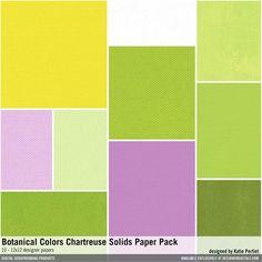Botanical Colors Chartreuse Solids Paper Pack textured solid colored cardstocks instant digital downloads in a bright color palette #designerdigitals