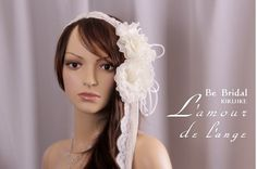 Bridal flower  head piece with tulle  lace and by LamourDeLange, $120.00