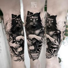 mystical black cat tattoo idea by @piotrbemben_tattoo
