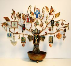 "Our Lady Shrine and Ornament Tree by raptorsandretablos on Etsy, $700.00 The beautiful copper tree with bowl base measures app. 18"" high and 21 1/2"" wide. The bowl is app. 6"" in diameter and is the perfect place to keep a rosary or your own collection of milagros and medals."