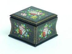 Russian Multi Color Floral and Black Lacquer Hand Painted Wood Trinket Box