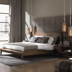 Love the double hanging lights by the bed Lexington 11 South Donovan Platform Bedroom Collection