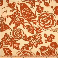 Fabric Swatch: Thomas Paul Aviary Tangerine; Colors: Orange on a tan Background  Would love this more in another color!