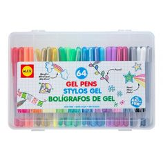 Fuel young scholarship and creativity with this set of 64 assorted gel pens! Includes 64 gel pensPackaging: W x H x DPlasticRecommended for ages 3 years and upImportedN/aPlasticImported School Supplies, Art Supplies, Office Supplies, Alex Toys, Plastic Container Storage, Pen Sets, Gel Pens, School Organization, All The Colors