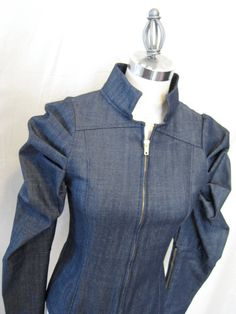 Denim Zip Front Leg of Mutton Sleeve Jacket by NYTRclothing, $75.00