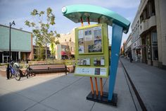 Kiosk on Main Street, information about downtown, restaurants and shopping