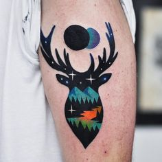 Deer Landscape /w Eclipse Tattoo by David Côté