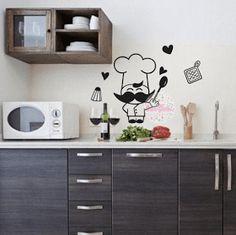 vinilo decorativo pared cocina cocinero, divertido