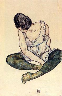 femme assise avec vert bas, aquarelle de Egon Schiele (1890-1918, Austria)