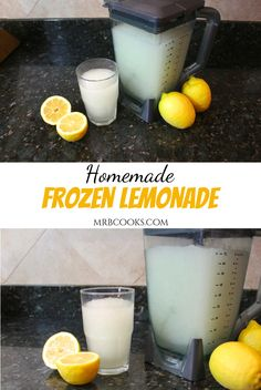 A homemade frozen lemonade recipe using fresh lemons, sugar and water! This old fashioned lemonade is a great summer drink recipe! Grab you blender and give it a try! Frozen Lemonade Recipes, Easy Lemonade Recipe, Frozen Drink Recipes, Homemade Lemonade Recipes, Summer Drink Recipes, Summer Drinks, Frozen Drinks, Old Fashioned Homemade Lemonade, Negroni Cocktail