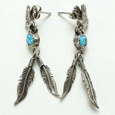 Vintage Southwestern Turquoise Dangle Earrings Sterling Silver Eagle and Feathers